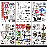 GIFT!!Tastto 6 Sheets Bright Colorful Hand Drawn Body Paints Temporary Tattoos Remix Stickers Set for all Ages with GIFT