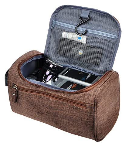 cb826676d6cd Amazon.com  Vercord Mens Toiletry Bag Wash Travel Small Shaving Dop Kit  Shower Bathroom Ditty Hygiene Bag Frosted Coffee  Vercord