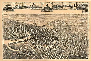 Amazon.com: Map of Stockton, California, San Joaquin Co; Antique ...