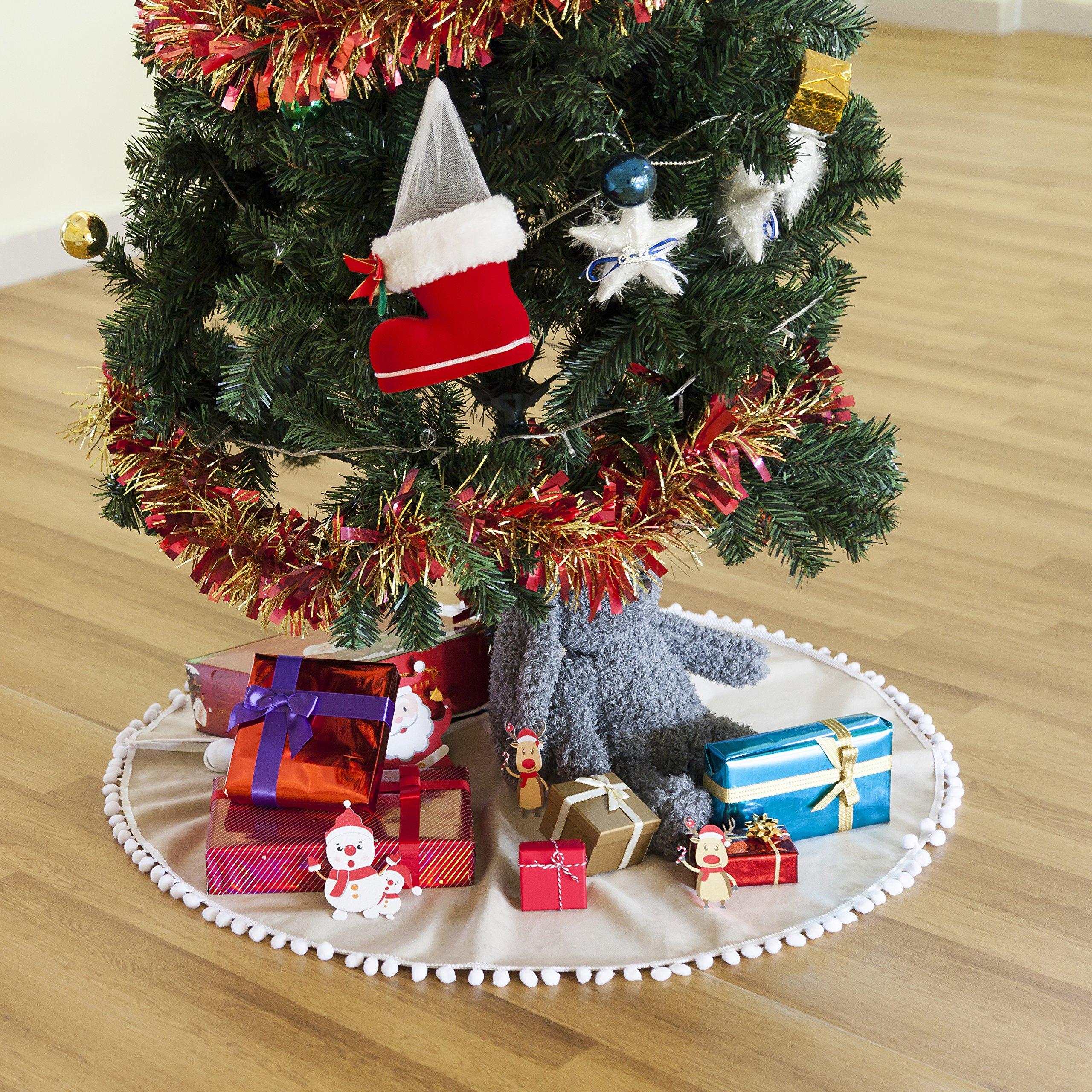 Hffls Christmas Tree Skirt 36 Inch Light brown Short velvet with snow white Pompom Tree Skirt Christmas Decorations Indoor Outdoor