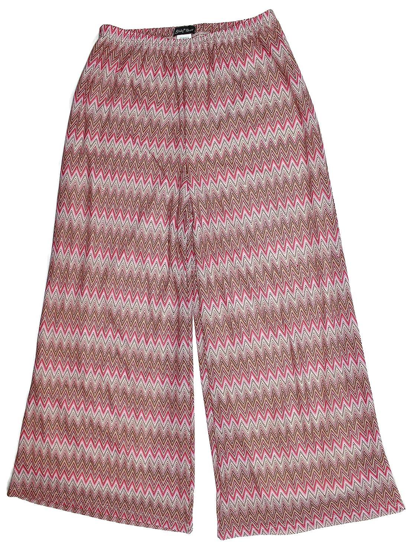 Slinky Brand Women's Chevron Palazzo Pant (X-Large, Fusmit Pink)