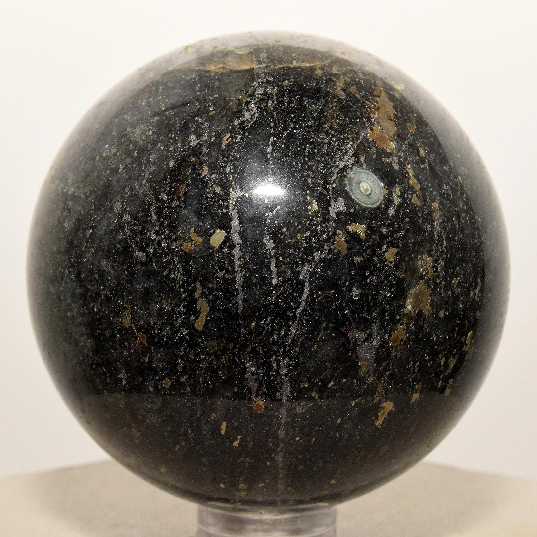 54 mm negro turmalina esfera W/dorado Pirita Natural negro gris bola de cristal schorl Mineral pulido piedra - China + soporte de plástico: Amazon.es: Hogar