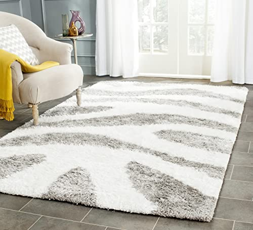 Safavieh Barcelona Shag Collection BSG321A Handmade Ivory and Silver Polyester Area Rug 6 x 9