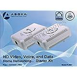 2 Asoka PlugLink ETH-200 Mbps HomePlug Powerline Ethernet Adapter - 9661-I3 (2 Units)