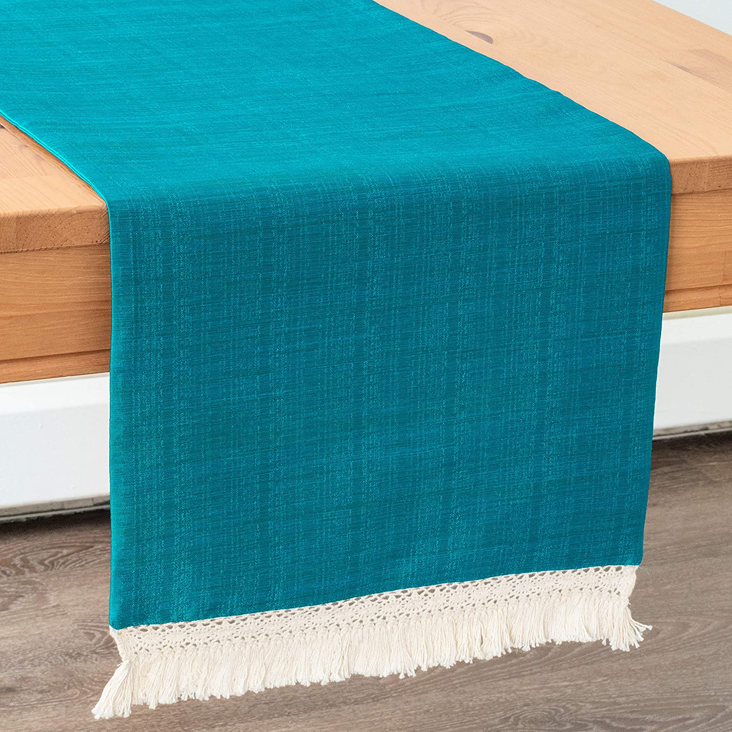 Turquoise Round Table Runners With Macrame Lace Boho Decor (13x64 inch, Pack of 1) Fabric Lined   Properly Finished, No Fray Edges   for Home, Kitchen, Dining Room, Holiday, Wedding Party