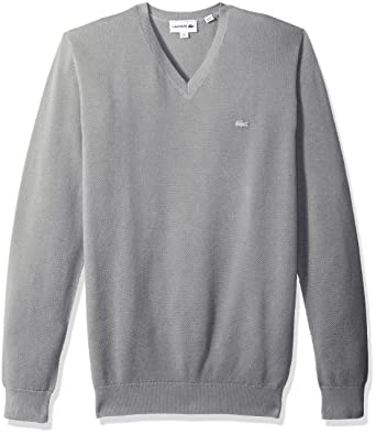 Lacoste Men s Long Sleeve Pique Mesh Effect V-Neck Sweater f3a0beb24716