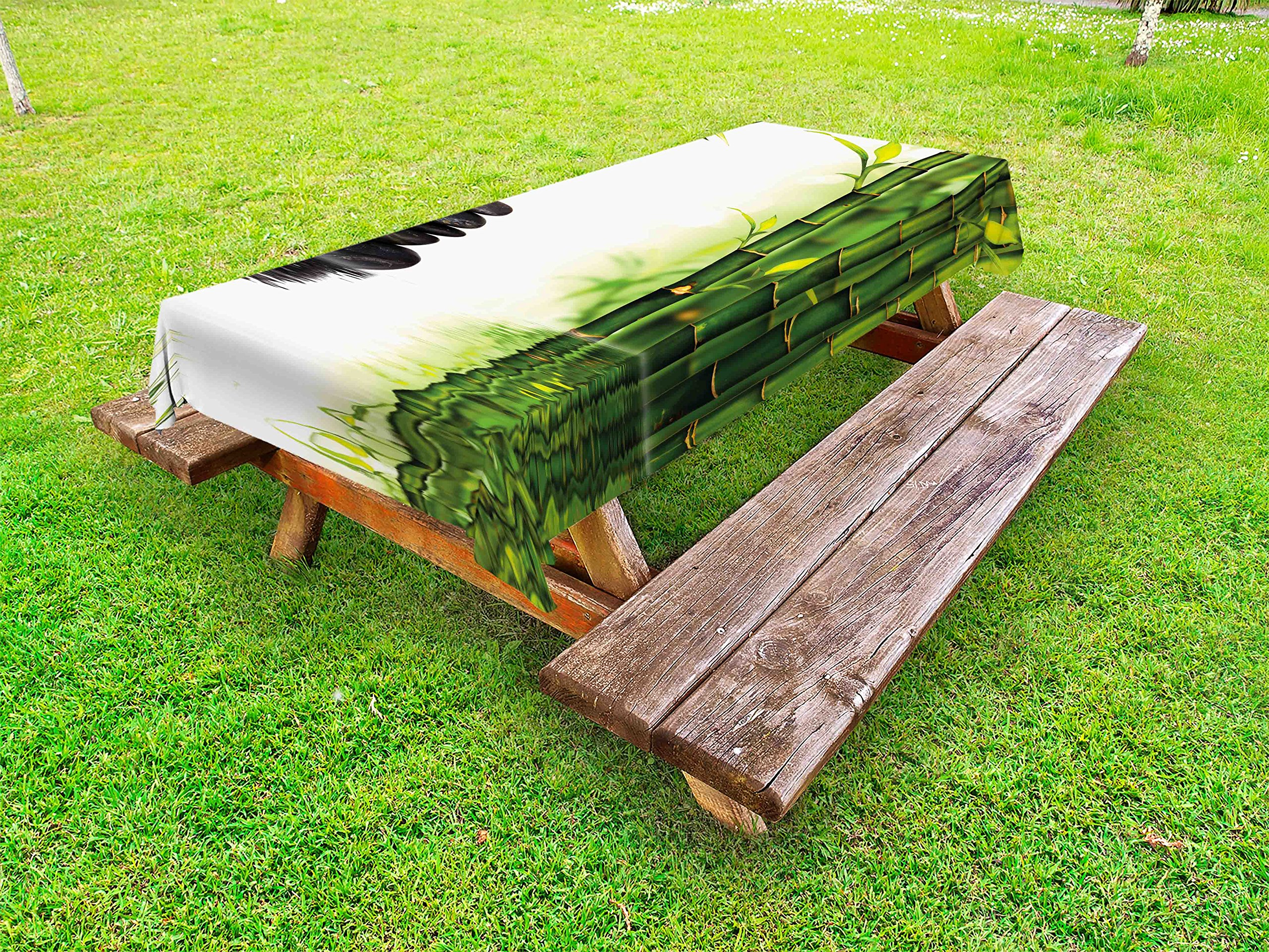 Lunarable Spa Outdoor Tablecloth, Bamboos Reflecting to The Water Near The Hot Black Massage Stones Print, Decorative Washable Picnic Table Cloth, 58 X 84 inches, Black Green and White