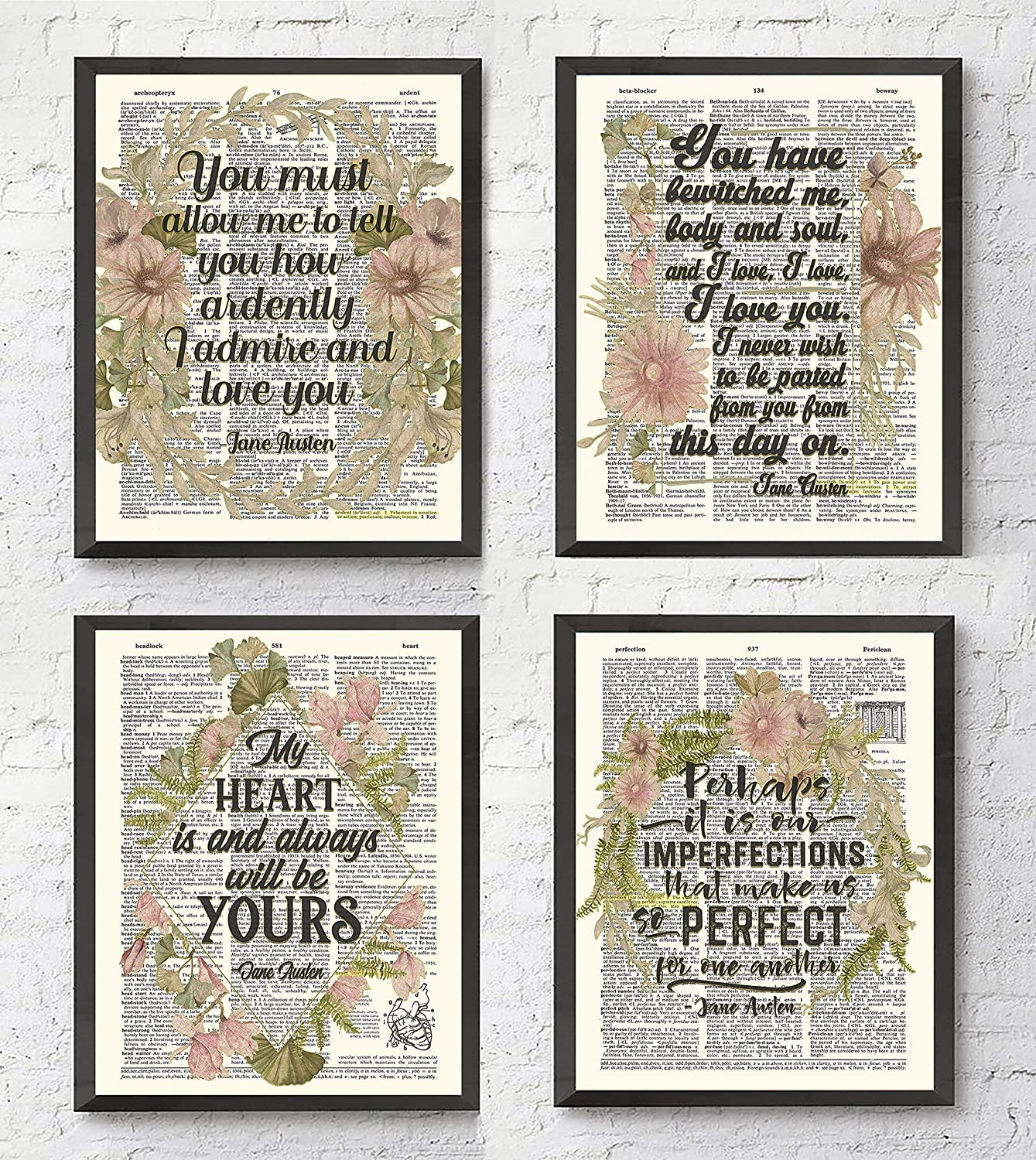 Jane Austen Quote Wall Art Prints, Set of 4, Unframed, Vintage Highlighted Dictionary Page floral Wall Art Decor Poster Sign, 8x10