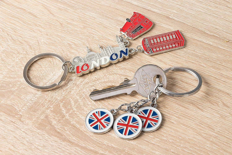 Llavero de Londres 6 dise/ños surtidos incluyen autob/ús de doble decoraci/ón color plateado cabina telef/ónica roja 6 unidades de llaveros de recuerdo y bandera del Reino Unido Big Ben