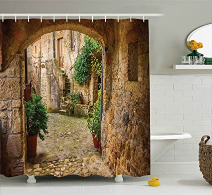Scenery Decor Shower Curtain By Ambesonne, Landscape From Another Door  Antique Stone Village Tuscany Italian