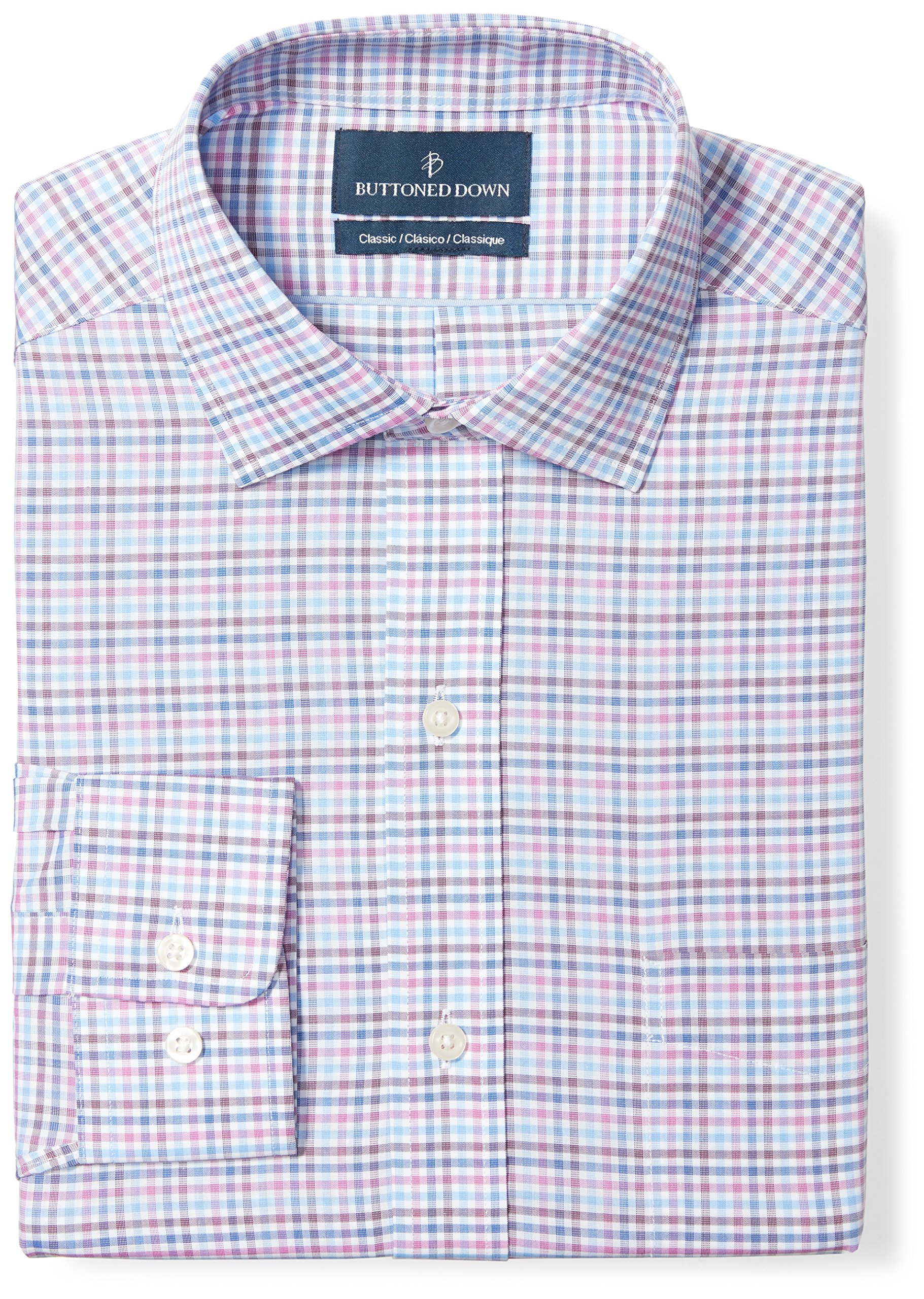 Buttoned Down Men's Classic Fit Spread-Collar Pattern Non-Iron Dress Shirt, Berry/Blue/Navy Check, 16.5'' Neck 35'' Sleeve