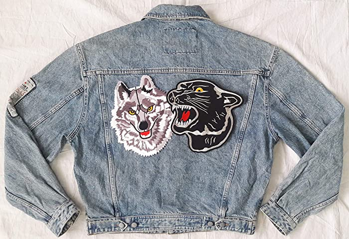 Amazon Com Hand Reworked Vintage Jean Jacket With Black Panther And