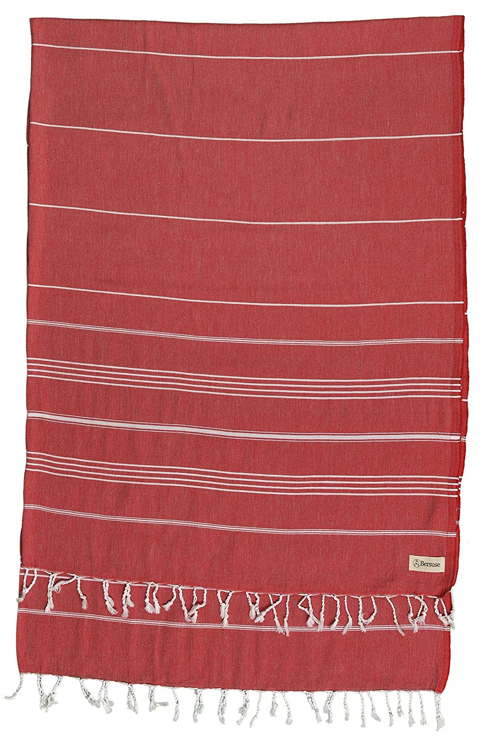 Bersuse 100% Cotton - Anatolia XL Blanket Turkish Towel - 61X82 Inches, White Bersuse