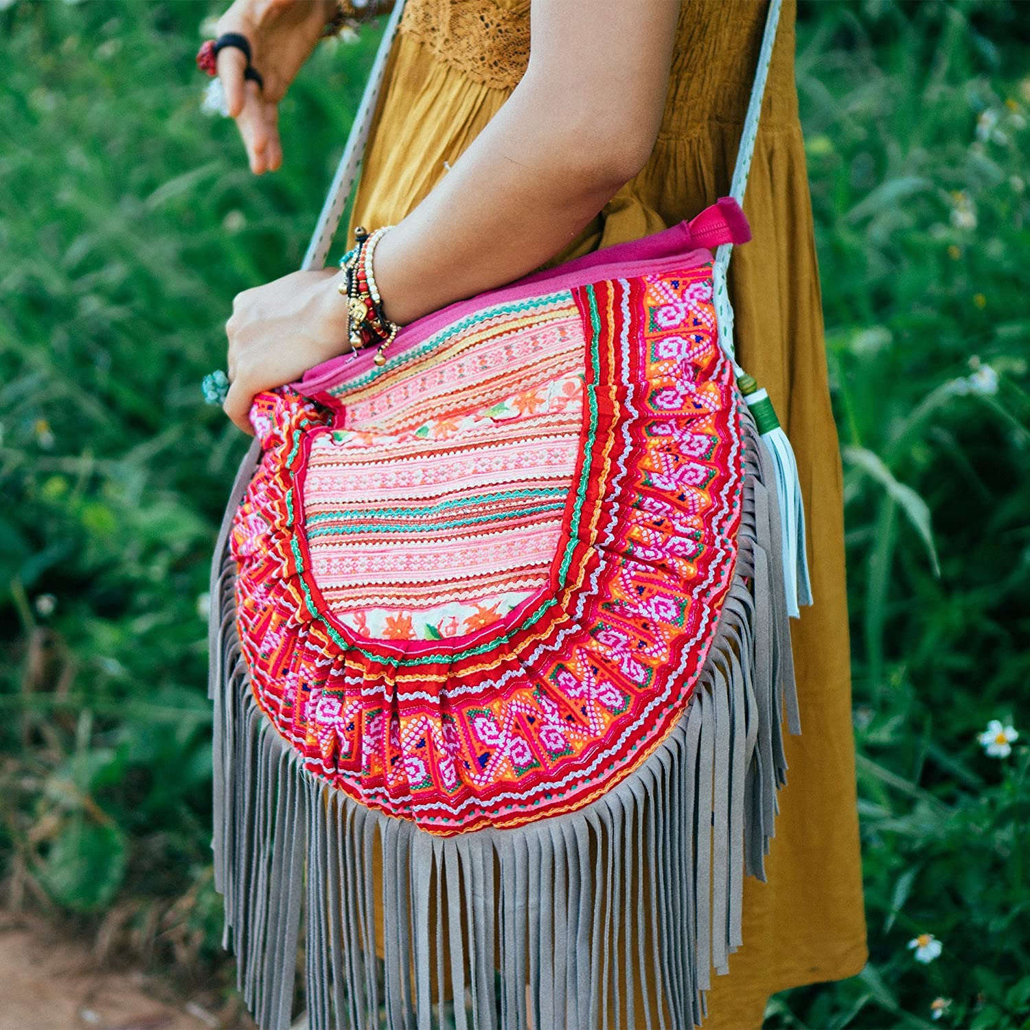 462b5d48bf Amazon.com  Changnoi Bohemian Leather Fringed Purse with Vintage Hmong Hill  Tribe Embroidered for Womens in Pink from Thailand