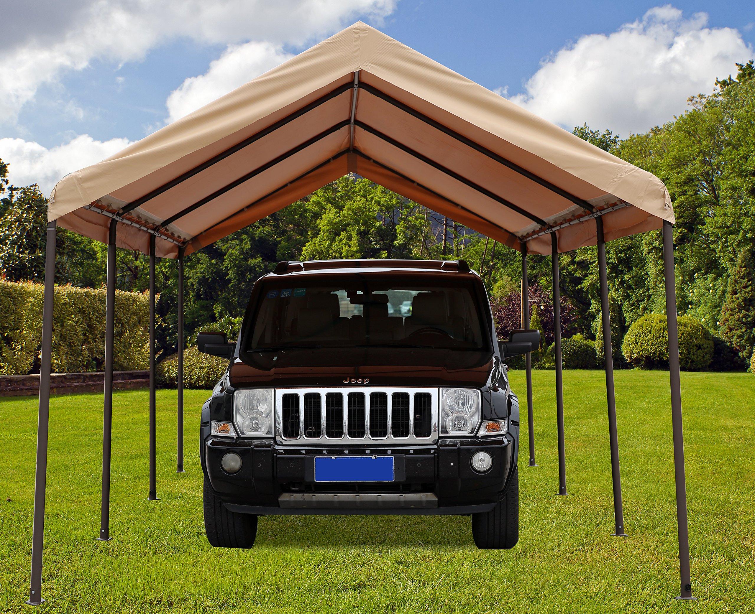 SORARA Carport 10' x 20' Heavy Duty Outdoor All-Purpose Car Canopy Storage Shelter with 8 Steel Legs, Beige by SORARA