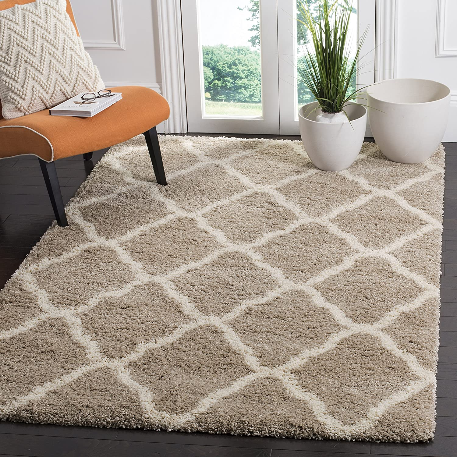 SAFAVIEH Hudson Shag Collection SGH283S Moroccan Trellis Non-Shedding Living Room Bedroom Dining Room Entryway Plush 2-inch Thick Area Rug, 7' x 7' Square, Beige / Ivory