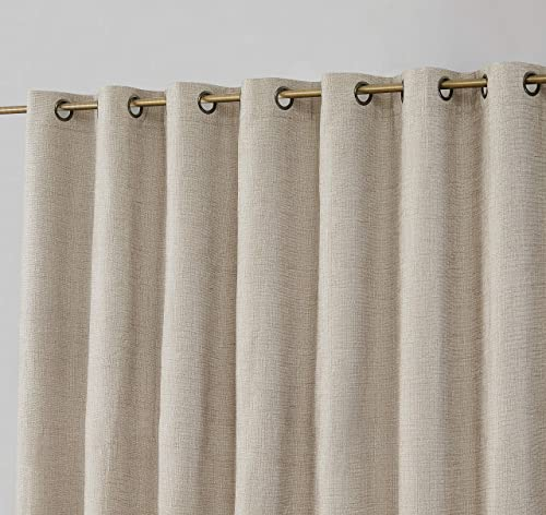 HLC.ME Modena Textured Faux Linen 100 Complete Full Blackout Thermal Insulated Extra Wide Grommet Curtain Panel for Sliding Glass Patio Door – Energy Savings Soundproof 100 x 84 inch Long, Beige
