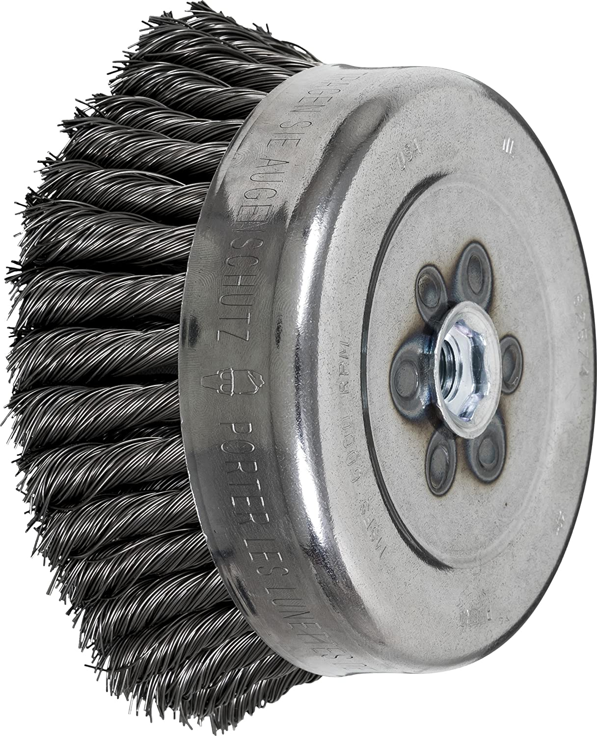1-1//2 Trim Length 6 Diameter 0.023 Wire Size 5//8-11 Internal Thread Carbon Steel Wire PFERD 82574 Full Cable Twist Knot Cup Brush 6000 RPM