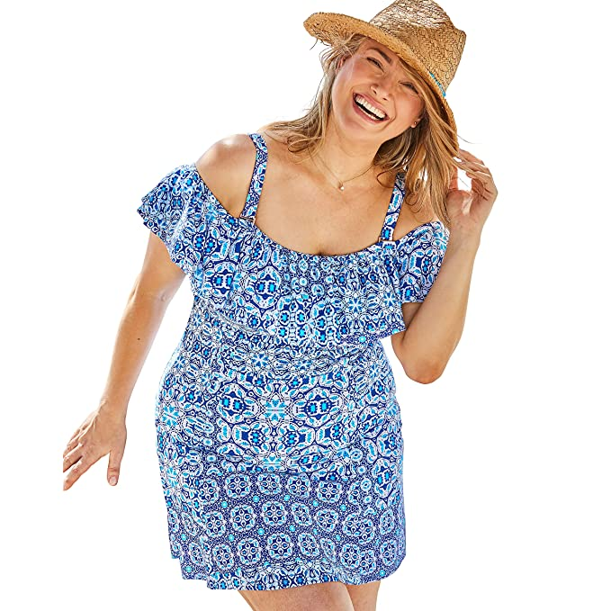 Swimsuits For All Women\'s Plus Size Off-The-Shoulder Ruffled Swim Dress