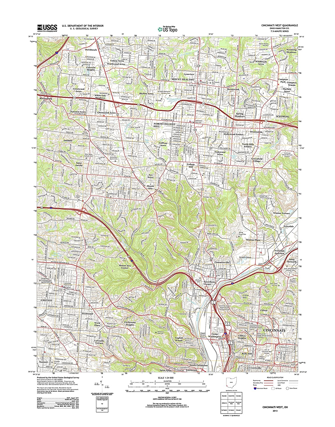 Amazon Com Topographic Map Poster Cincinnati West Oh Tnm Geopdf