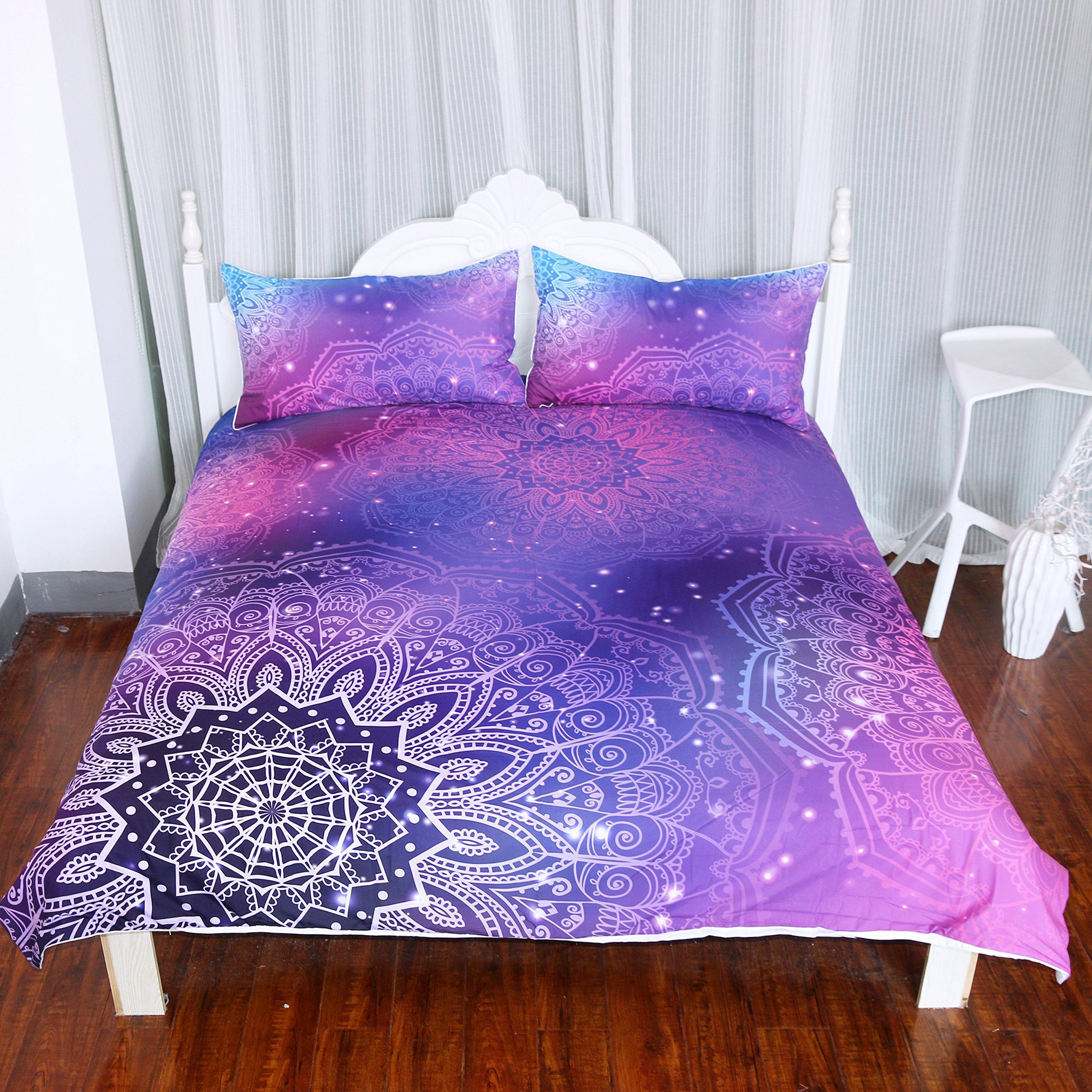 Arightex Iridescent Pink Purple Blue Mandala Duvet Cover 3 Pcs Bling Glitter Bedding Set Girly Duvet Cover (Twin)