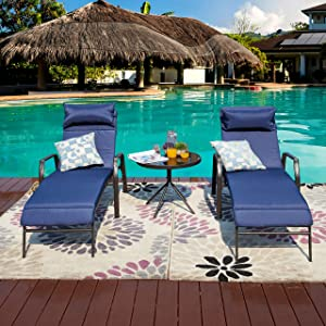 LOKATSE HOME 3 Pieces Outdoor Patio Chaise Lounge Set 2 Adjustable Chairs and 1 Bistro Table with Removable Cushions, Dark Blue