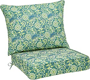 AmazonBasics Deep Seat Patio Seat and Back Cushion- Blue Flower