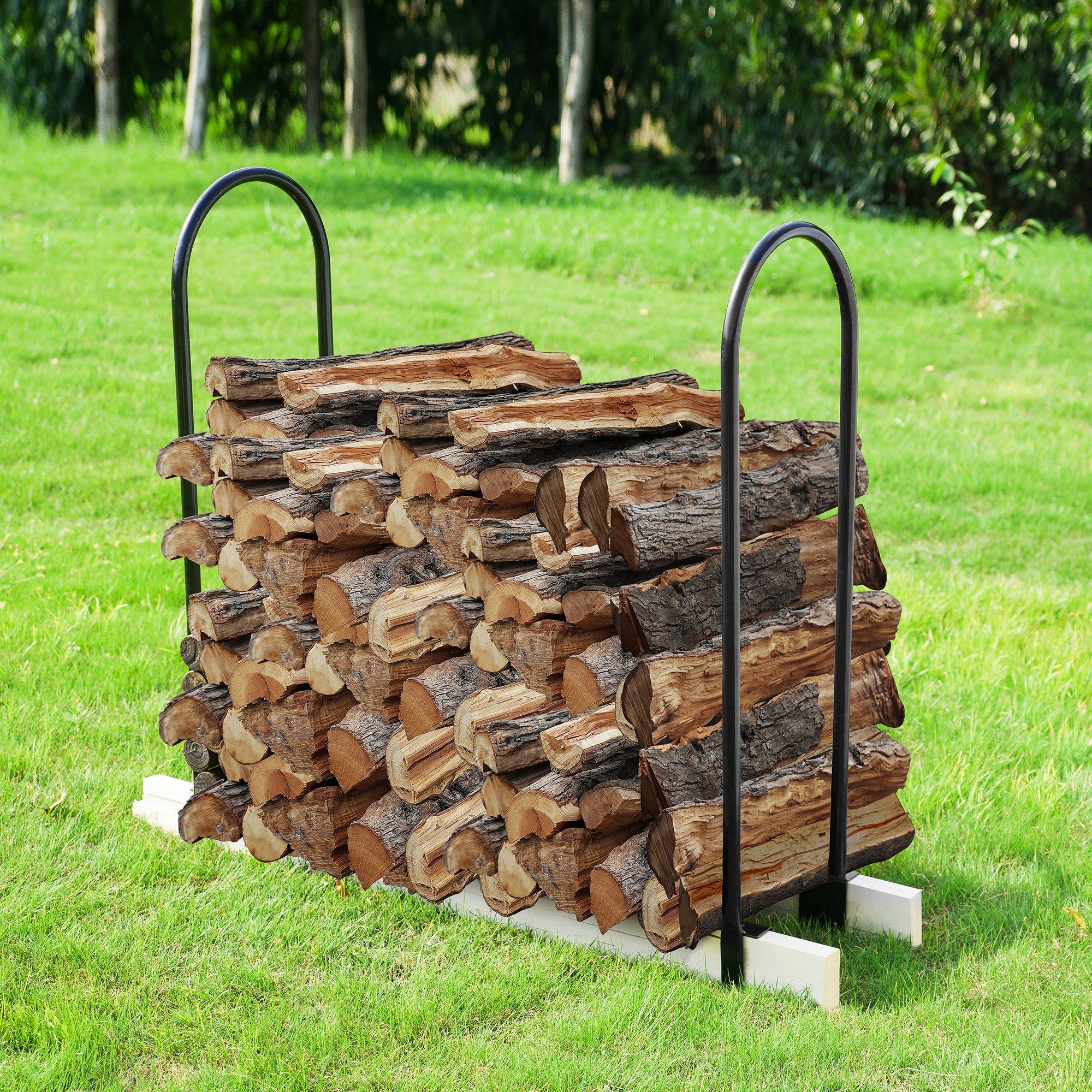 Earth Worth 83-DT5202 Adjustable Firewood Log Rack   up to 16 ft   Black