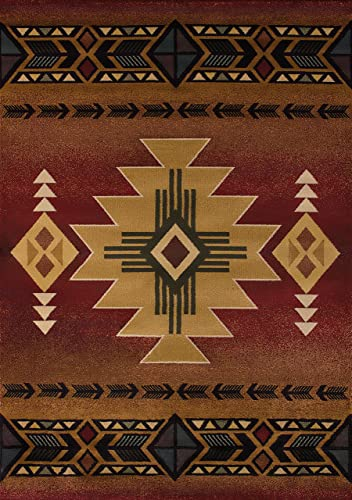 United Weavers of America Genesis Collection Arizona Heavyweight Heat Set Olefin Rug, 7-Feet 10-Inch by 10-Feet 6-Inch, Crimson