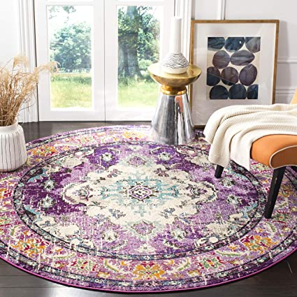 Safavieh Monaco Collection MNC243L Vintage Bohemian Violet and Light Blue Distressed Round Area Rug (5 in Diameter)
