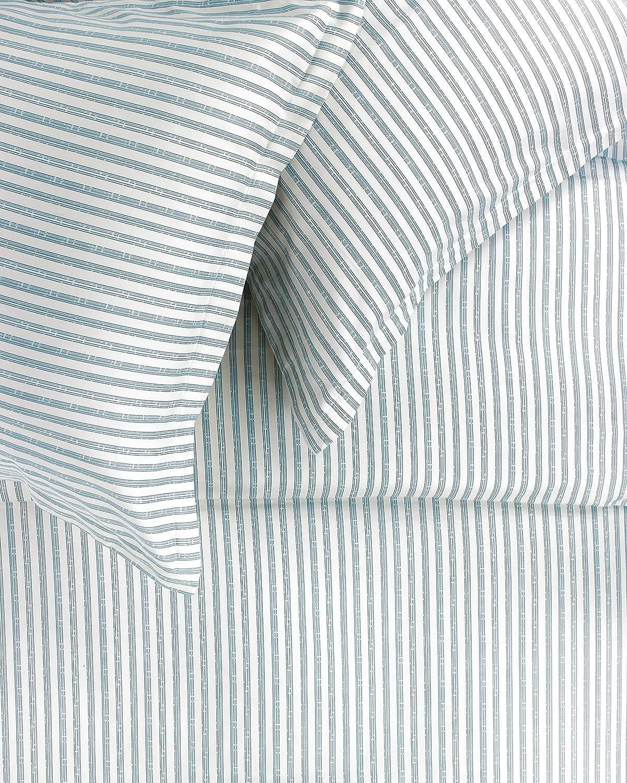 Melange Home 400TC Series Bamboo Stripe Duvet Set, Full/Queen, Blue