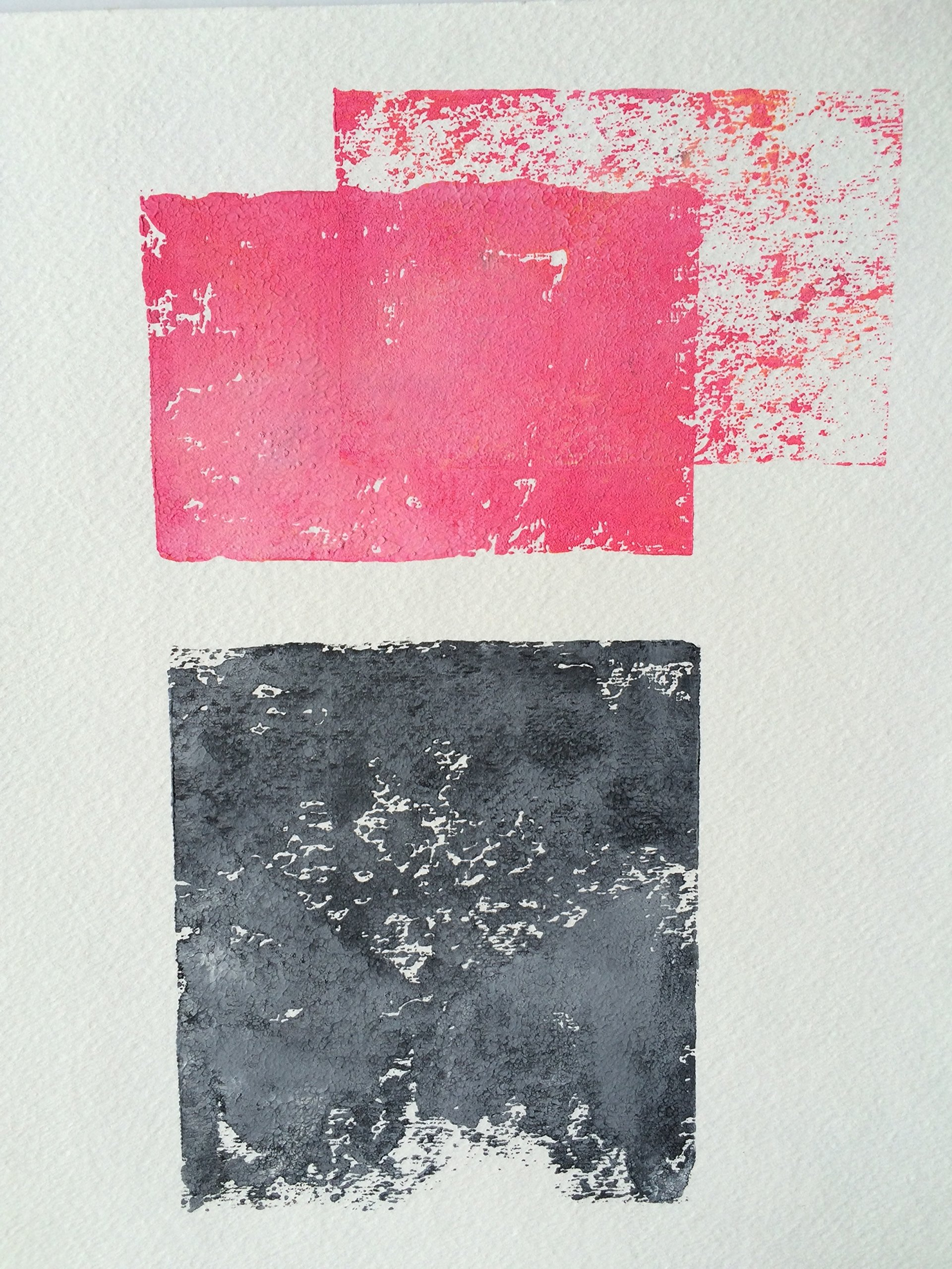 Blood Pink and Grey Abstract linocut by