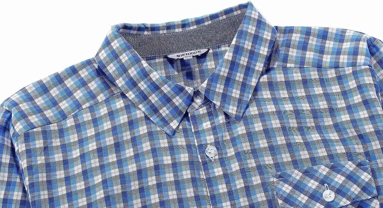 Bienzoe Gar/çon Coton Plaid Roll-up Manche Chemises