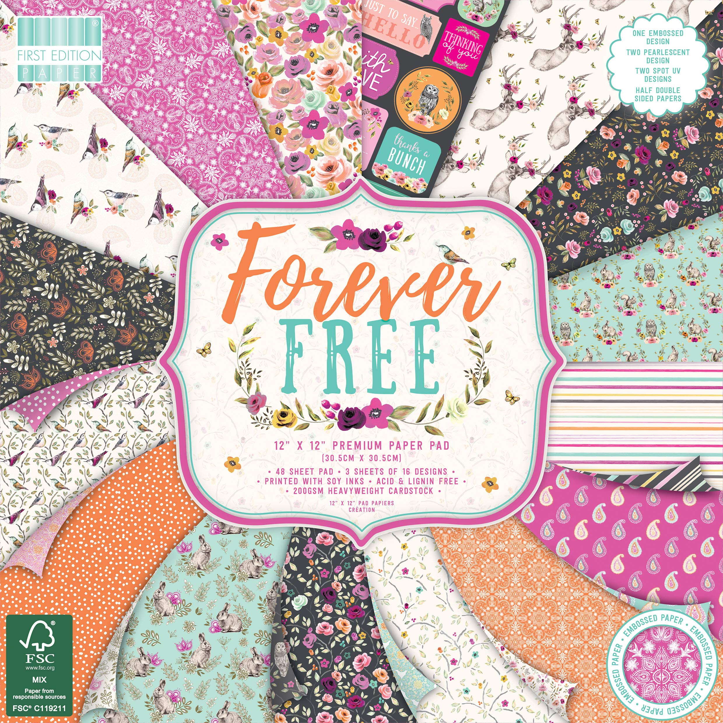 First Edition Forever Free Premium Paper Pad 12''x12'' 48 Sheets (FSC)
