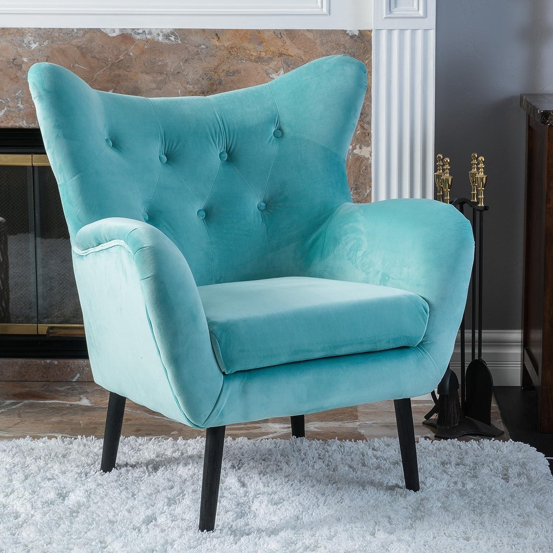 Amazon Danielle Light Blue Velvet Arm Chair Kitchen & Dining