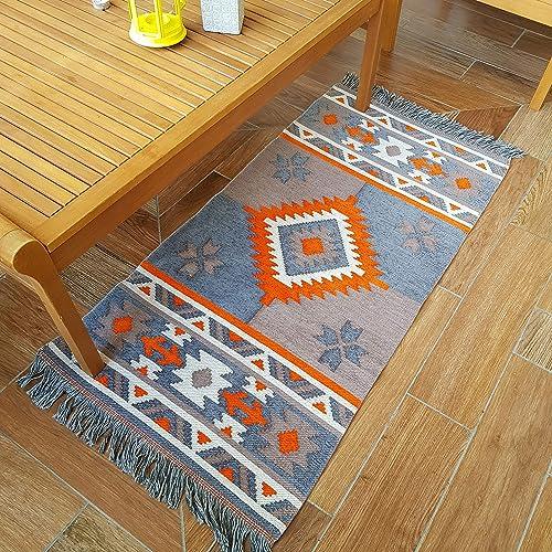 Secret Sea Collection, Southwest Style Area Rug, Cotton, 2 x 4 feet Orange-Grey