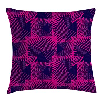 ee225a5e03b Ambesonne Magenta Throw Pillow Cushion Cover, Trippy Zip Style Mix Pattern  with Dark Color Effects