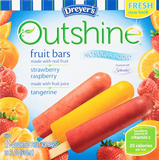 Amazon.com : Dreyers, No Sugar Added Variety Pack (Tangerine/Strawberry/Raspberry) Fruit Bars, 12 Pack, 1.75 oz each (Frozen) : Grocery & Gourmet Food