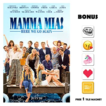 Amazon.com: Mamma Mia 2 Here We Go Again Movie Poster 13 in x 19 in ...