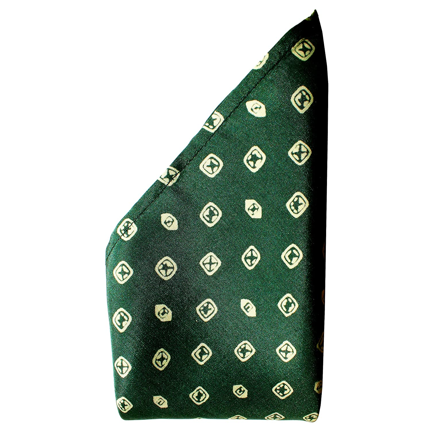 Deep Green Cufflinks Silk Pocket Square Full-Sized 16x16