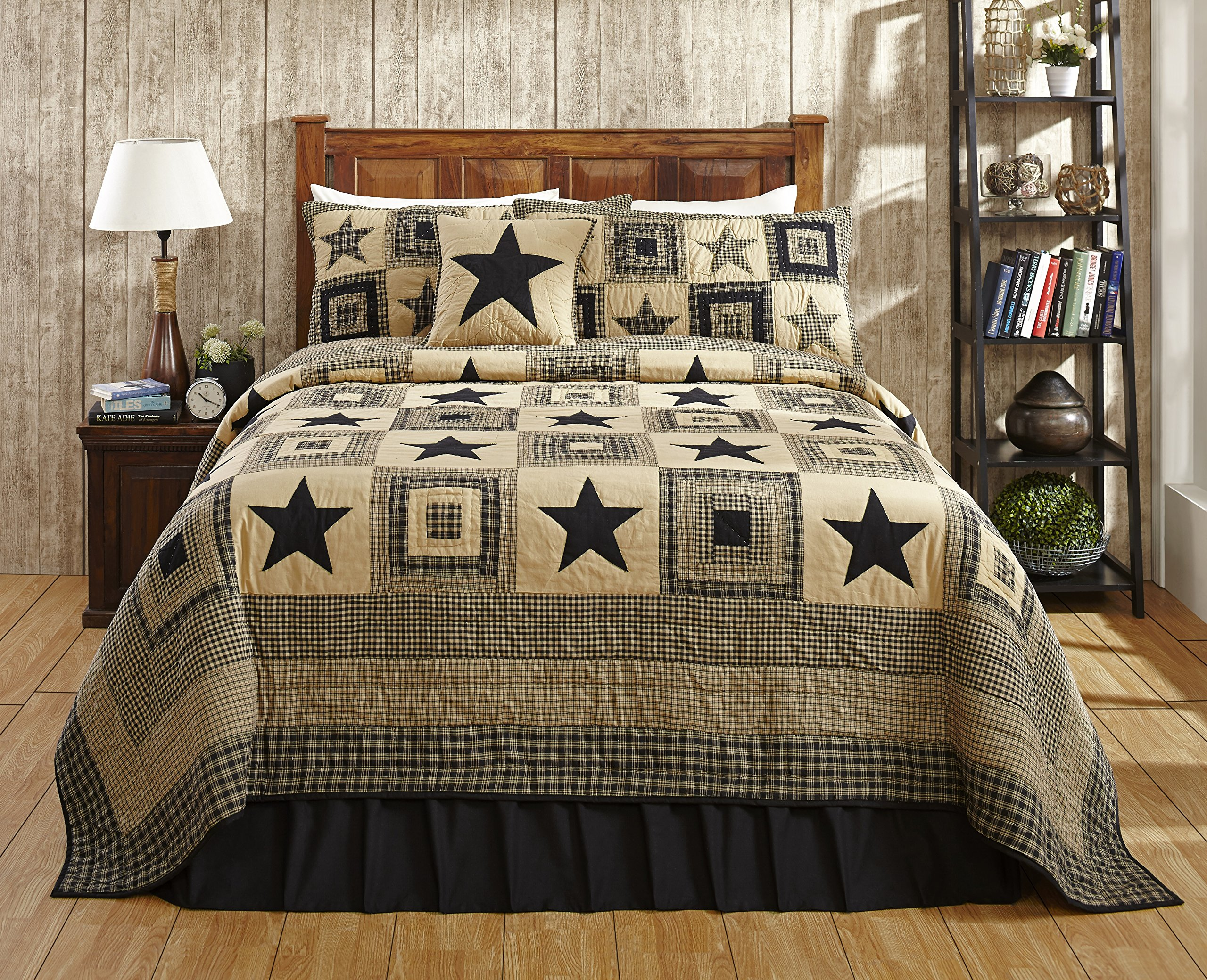 Colonial Star Black and Tan Primitive Country Quilt Set - 5 Piece (Twin (4 pc)) by Olivia's Heartland