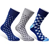 Colorful Mens Dress Socks - 3 Pack Set - Fun Patterns Polka Dot Gift Boxed - Size 7 - 12