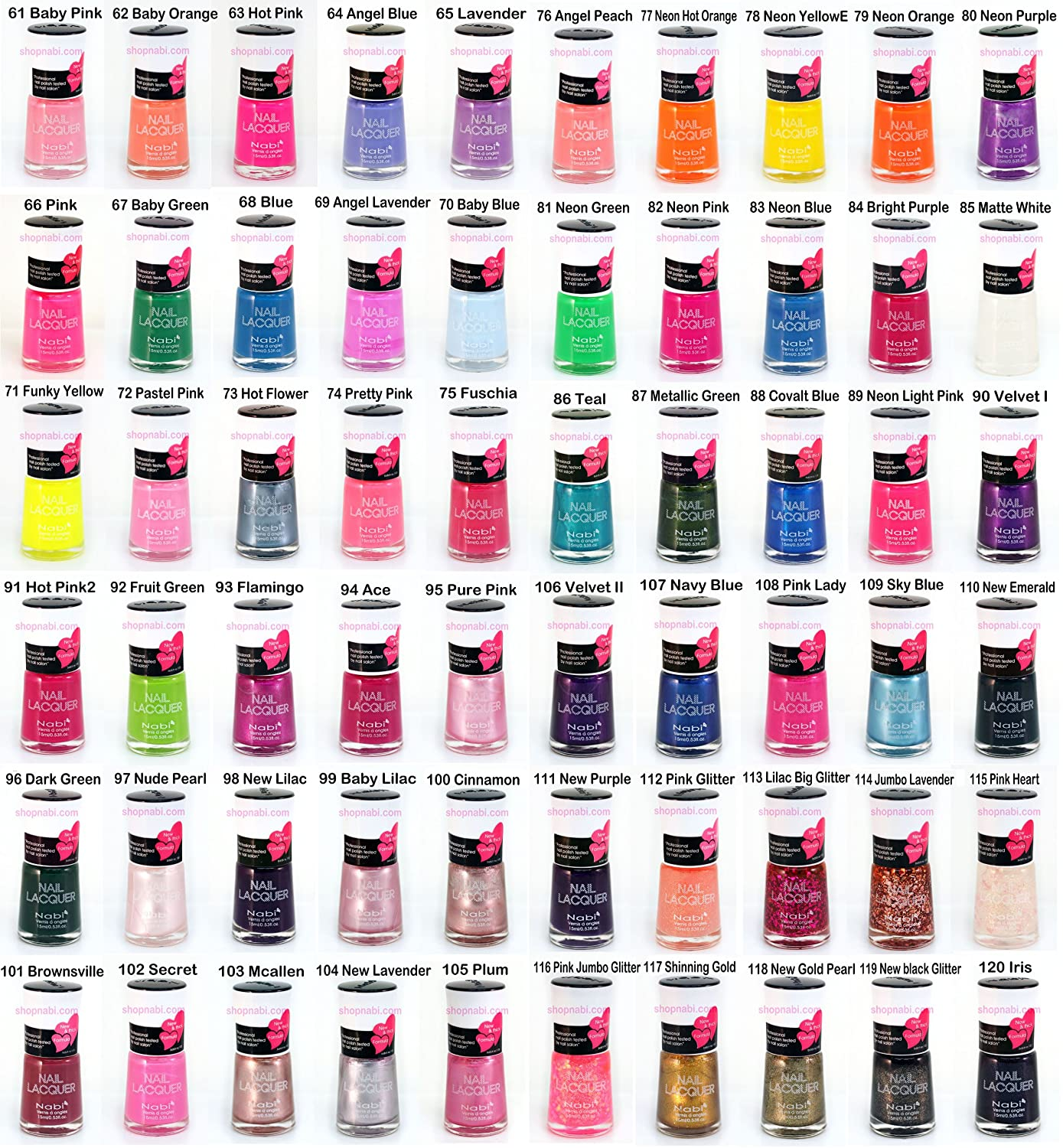 Amazon.com : 204pcs Nail Manicure Nabi Nail Polish (Wholesale Lot ...