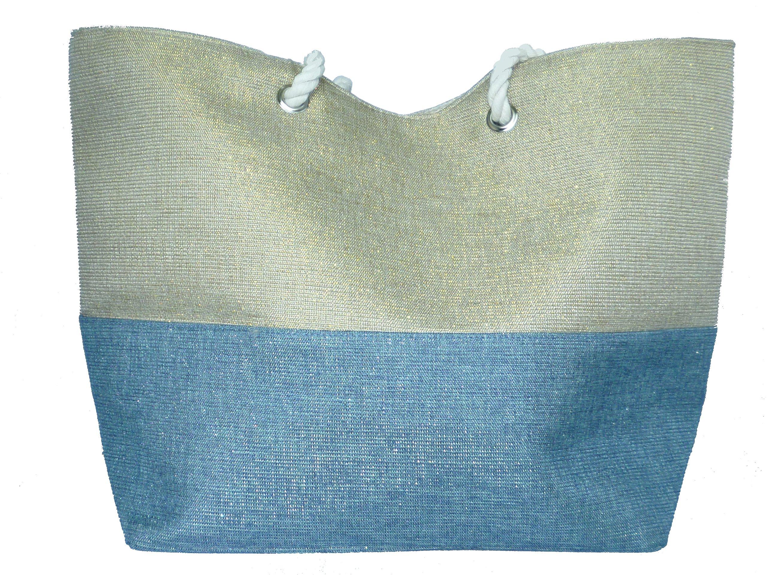 Versatile Shimmering Summer Tote or Beach Bag (Gold/Blue)