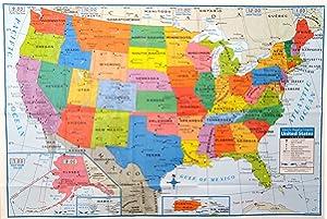Amazon Com 24x36 United States Usa Classic Elite Wall Map Mural