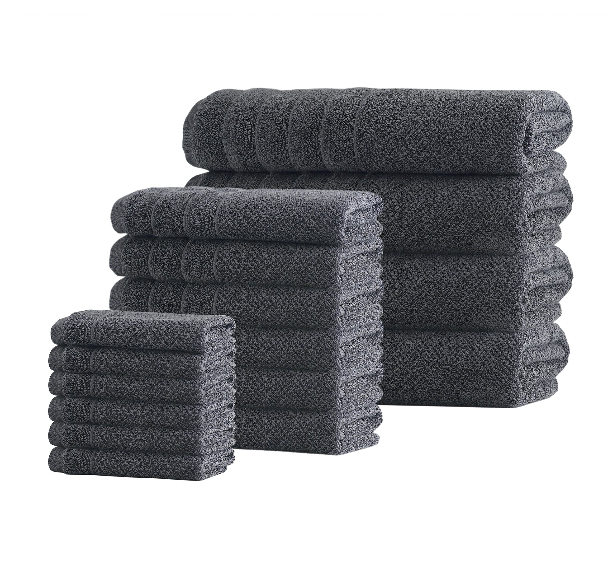 PH 16 Piece Anthracite Stripe Towel Set with 28 X 54 Inches Bath Towels, Dark Grey Textured Solid Color Quick Dry Terry Cloth Extra Long Staple Soft Comfortable Modern Stylish Towels, Turkish Cotton
