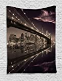 Landscape Tapestry by Ambesonne, Brooklyn Bridge Sunset NYC View Skyline Tourist Attraction Modern City, Wall Hanging for Bedroom Living Room Dorm, 40 W X 60 L Inches, Pale Brown Dried Rose