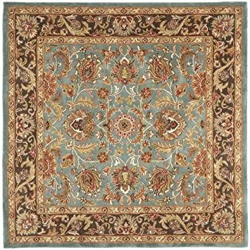 Safavieh Heritage Collection HG812B Handmade Traditional Oriental Blue And  Brown Wool Square Area Rug (8