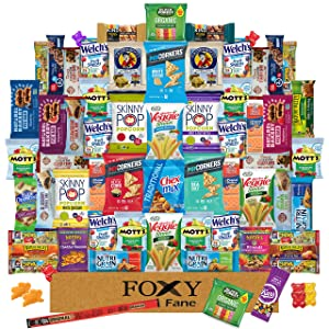 Foxy Fane 60 count Premium Healthy Snack Box - Ultimate Gift Care Package with Variety Assortment of Chips, Nuts, Bars, Crackers, Popcorn, Cookies & more - Bulk Bundle of Delicious Treats (60 Snacks)