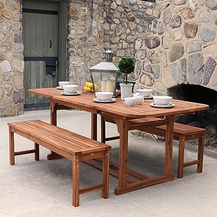 Amazoncom WE Furniture Solid Acacia Wood Piece Patio Dining Set - Stone picnic table set